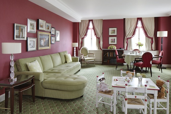 The luxurious -- and kid-friendly -- living room area of Suite Dreams Nursery at The Grosvenor House, A JW Marriott Hotel in London.