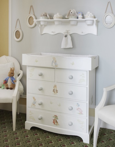 Peter Rabbit-themed furniture by Dragons of Walton Street -- it's almost too beautiful to change your baby here!