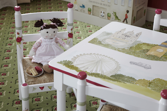 Look at the details (London landmarks!) of the table and chair by Dragons of Walton Street, custom-made for the Suite Dreams Nursery at the.Grosvenor House, a JW Marriott Hotel in London