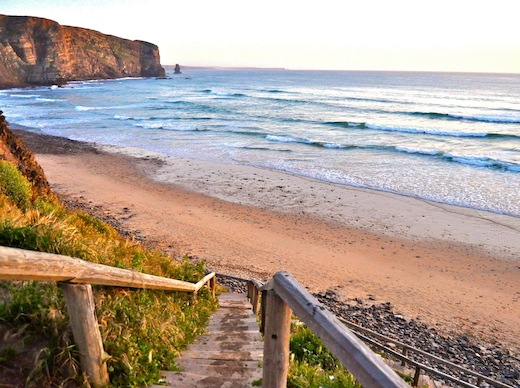 Praia da Arrifana also is a great place to go for a sunset stroll. Photo by Elizabeth Montalbano.