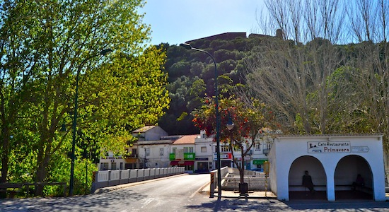The bridge in the main part of Aljezur, overlooked by a 10th Century Moorish castle (look closely at the top of the hill). Photo by Elizabeth Montalbano.