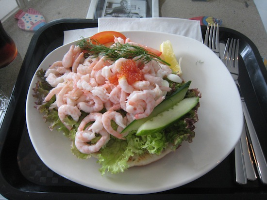 A  delicious räksmörgås, a traditional Swedish shrimp sandwich, from Buhres Fisk in Kivik, Sweden.
