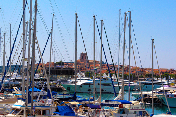 You can see the Old Town of Antibes, France, peeking out behind the yachts and sailboats.