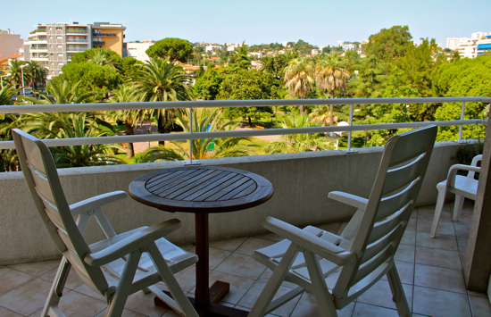 A balcony is de rigueur in the South of France, and our triangular balcony in our apartment rental in Antibes was quite spacious!