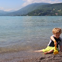 Traveling with a #toddler can be tough but it's also a lot of fun! Here's the two-and-a-half-year-old in Annecy, #France! #travel