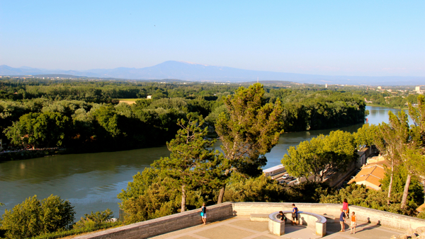Views of the Rhone River from Rocher des Doms in Avignon.