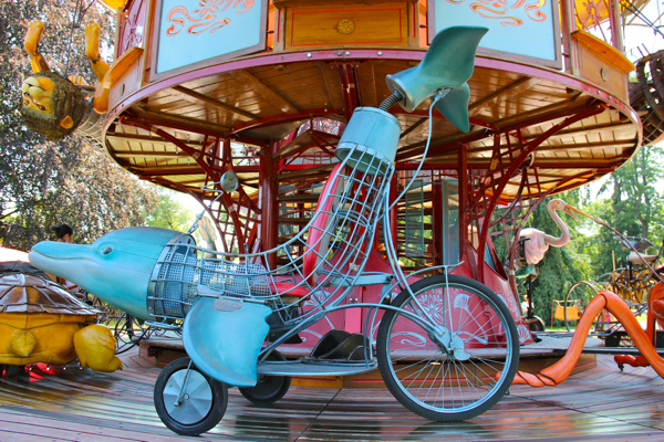 Wish to ride a dolphin? It's one of the animals on the Carousel of Fairy Tales in Geneva.