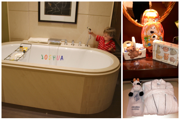 What wonderful goodies awaited my son in the bathroom at the Four Seasons Geneva: a personalized tub, child-sized slippers and bathrobe, Mustela baby products, a tiger washcloth set and stunning Bulgari soaps.