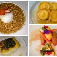 The final four courses of our Il Lago tasting menu at the Four Seasons Geneva. From top left: lobster risotto, cheese tortelli, sea bass and roasted pineapple with ice cream and crumble.