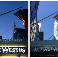 The Westin New York Grand Central by Day and by Night, with the Chrysler Building in the background.