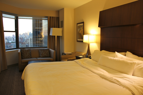 Ah, that Heavenly Bed! Our Deluxe Room with a view from the 35th floor at The Westin New York Grand Central.