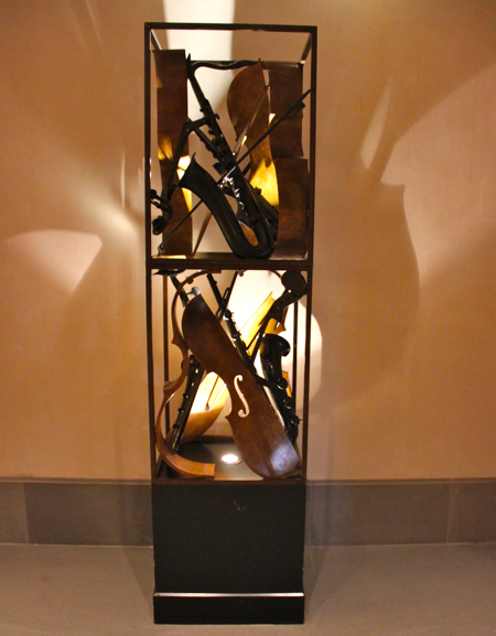 Pierre Arman's violins sculpture strike the right cord in the Terre Blanche lobby. #sculpture #modernart #provence
