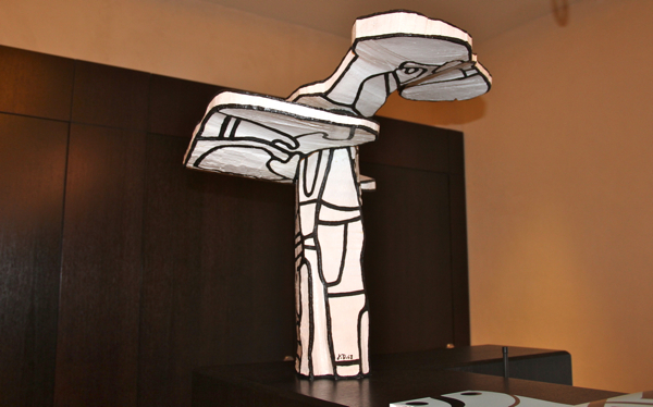 A statue in Jean Dubuffet's signature black-and-white style greets visitors at the Terre Blanche reception. #modernart #hotel #provence #luxury
