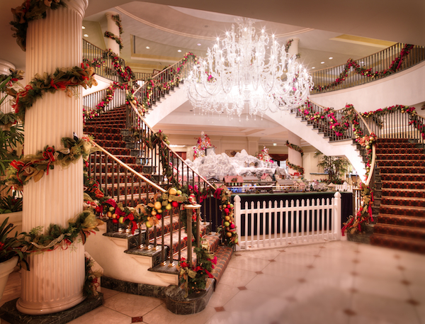 christmas decorations at charleston place hotel include a a miniature replica of an venice simplon orient - Hotel Christmas Decorations