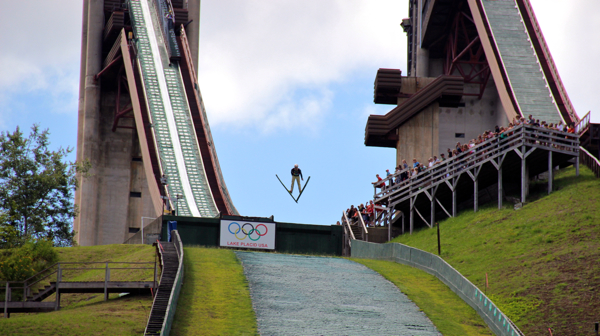 The K-120 meter jump at the Lake Placid Olympic Jumping Complex -- in the summer