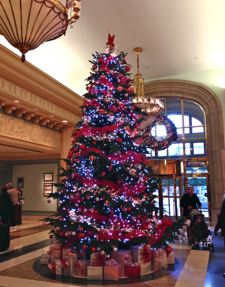 this christmas tree at the fairmont pacific rim is so classic and festive with its red garlands photo by claudia laroye of thetravellingmomca - Best Christmas Trees