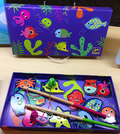 A very stylish magnetic fishing set from Djeco -- easy transportable and a great toy for travel.