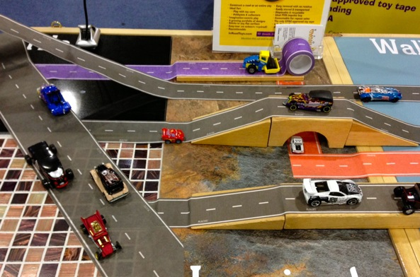 Make a track for toy cars anywhere with PlayTape by InRoadToys! #toyfair14