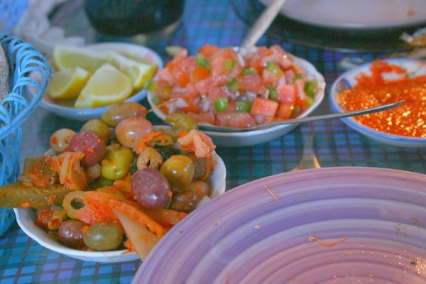 Delicious olives and salads in Morocco. Photo by Amanda Mouttaki