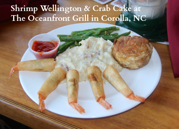 Shrimp Wellington, Crab Cake and Mashed Potatoes at The Oceanfront Grille in Corolla, NC