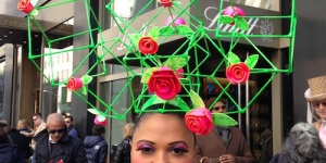 The perfect post-modern floral Easter Bonnet! Fits the mood of the Easter Parade in NYC perfectly.